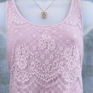 Pale Pink Lace Tank Top